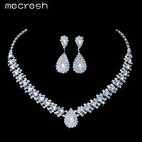 Wholesale Teardrop Choker Necklace - Mecresh 4 Colors Crystal Bridal Jewelry Sets Choker Necklace Earrings Teardrop African Beads Jewelry Set Wedding Jewelry TL001
