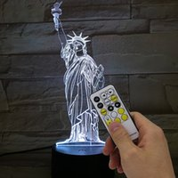 Wholesale Remote Control Switch Dc - Statue of Liberty 3D Night Light RGB Changeable Mood Lamp LED Light DC 5V USB Decorative Table Lamp with remote control