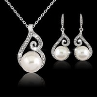 Wholesale Indian Jewellery Pendants Wholesale - Bridesmaid Jewelry Set Earrings Long Silver Necklace Pendants Gift Set Indian African Wedding Party Jewelry Sets Jewellery