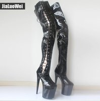 5633c469378 Free Shipping Extremely 20cm high heels New Sexy Over-the-knee Long Boots  Pleaser Black Stretch Platform Thigh High Boots Side Ribbon Lace