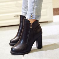 Wholesale Thick Heel Womens Shoes - Wholesale-Thick heeled autumn winter female martin boots with double zippler high heels womens ankle boots woman shoes black red WSH005