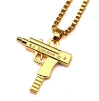 Wholesale Pistol Pendants - 60cm 2.6 x3cm Gold Chain Hip Hop Long Necklace Men Women Fashion SUPEME Pistol Pendant Maxi NecklaceJewelry