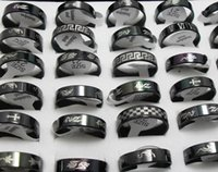 Wholesale Design Mixed Stainless Steel Rings - 50pcs Black Design Mixed Men Women Fashion Stainless Steel Rings Wholesale HOT Jewelry Lots BRAND NEW
