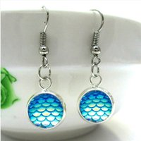 Wholesale acrylic earrings patterns for sale - Group buy Fashion mm Mermaid Fish Scale Pattern Dangle Earrings Druzy Drusy Round Earrings Handmade Stainless steel stud Trendy colors for Woman