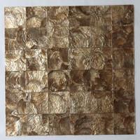 ingrosso piastrelle di mosaico giallo-[SPEDIZIONE GRATUITA] tessera shell Capiz 100% naturale, 50mm x 50mm madreperla per mosaico a conchiglia, colore dorato, motivo quadrato # L073