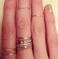 Wholesale Hollywood Hearts - 2015 New Women Vintage Hollywood Brand Jewelry 14K Gold Plated Zircon Knuckle Ring Midi Ring Set = 5 Rings