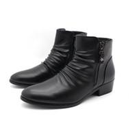 ingrosso stivali neri di caviglia-Stivali in pelle da uomo di marca di moda di lusso Vera cerniera in pelle di coccodrillo nera