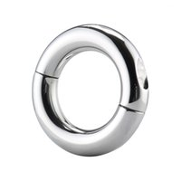 Wholesale Testicular Restraint - Stainless Steel Scrotum Ring Metal Locking Cock Ring Ball Stretchers For Men Sex toys Scrotum Stretcher Testicular Restraint