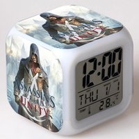 En Stock LED Alarm Clock Glowing Colorful Touch Light Movie Figurine <b>Assasins Creed</b> PVC Action Figure Desktop Collect Toys