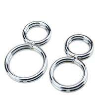 erkek iffet cihazları köle toptan satış-Ücretsiz kargo !! 2016 8-shaped Cock Ring Bükülmüş Penis Iffet Cihazı ereksiyon Stainess Çelik Erkek Köle Esaret Set Önlemek erkekler için