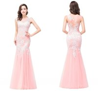 Wholesale Peach Mermaid Prom Dresses - Cheap Peach Mermaid Evening Dress Sheer Jewel Neck Illusion Back Long Prom Dresses with Lace Appliques Elegant Formal Evening Gowns 2017
