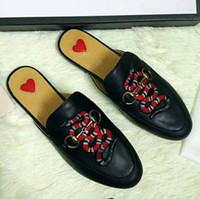 Wholesale Leather Soft Sole Slippers - Lady Brand Flats Shoes Summer Slippers Cow Leather Non-slipping Sole High Quality Original Package Animal embroidery(Dust Bag,Box)