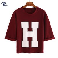 Wholesale Online Women Shirts - Wholesale-Shirts For Women Clothing Online Shop Summer Style Red Short Sleeve Round Neck H Print Crop T-Shirt