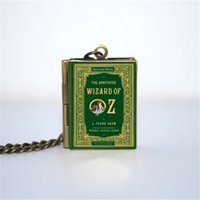 Wholesale 12pcs The Wizard of Oz Book Locket Necklace Bronze tone