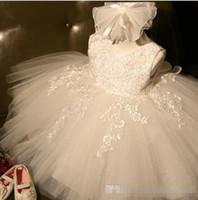 kleinkind-kleider für kleinkinder großhandel-2017 echt Hohe Qualität Weiß Erstkommunion Kleider Für Mädchen Tüll Spitze Säuglingskleinkind Pageant Blumenmädchen Kleid für Hochzeit und Geburtstag