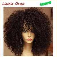 Wholesale Woman Beautiful Short Wigs - Hot Sale Beautiful Natural Afro Kinky Curly Wig Brazilian Virgin Human Hair Kinky Curly Lace Front Wigs Glueless For Black Women
