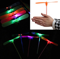 Wholesale Cheap Led Light Up Toys - Wholesale- 20pcs lot NEW LED Luminous flying light up toys flashing Bamboo Dragonfly Electronic Cheap kids gift party decoration