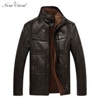 Wholesale genuine leather parka - Wholesale- Leather Jacket Winter Autumn Thick Warm Fur Coat Men Mandarin Collar Motorcycle PU Leather Parka Plus Size 4XL Jaqueta De Couro