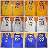 Wholesale Tiger Sleeveless - 2017 Basketball LSU Tigers College Jerseys Cheap 25 Ben Simmons Jersey 33 Shaquille ONeal O Neal Yellow Purple White Uniforms Sports