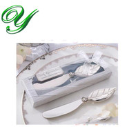 Wholesale butter fork wedding favors butter spatula jam cheese spreader knife dinner fork cm leaves handle PVC box table decoration wedding gifts