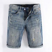 European Retro Design Jeans Mens Shorts Summer Fashion Paint Dirty Wash Denim Shorts Men Brand Casual Shorts Jeans Homens