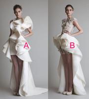 Lace Short Beach Wedding Dress for sale - high low ball gown ruffles overskirt wedding dresses 2017 Krikor Jabotian jewel neckline white wedding guest dresses