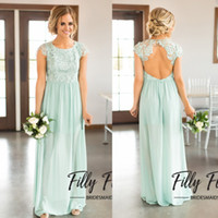 Wholesale Mint Color Long Sleeve Dresses - 2018 Spring Chiffon Mint Green Bridesmaid Dresses for Summer Weddings Bohemian A Line Cap Sleeves Sexy Keyhole Backless Long Maid of Honor