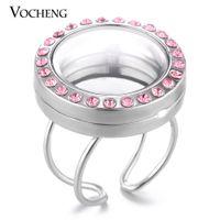плавающий 25мм медальон памяти оптовых-VOCHENG 25 мм круглый плавающий подвески кольцо изменяемого размера для женщин открываемые стекла памяти медальоны с Кристаллом 3 цвета VA-248