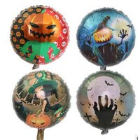 Wholesale Halloween Pumpkin Balloon - new style Halloween decoration aluminum film balloon pumpkin man little witch skull foil balloon free Crazy Party