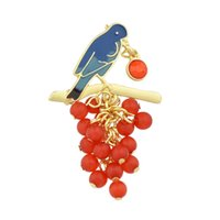 Wholesale Pearl Cluster Ball - New Fashion Jewelry Gold Alloy Blue Birds with Red Grape Cluster Design Brooches for Women
