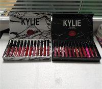 Wholesale Makeup Light Box - Kylie jenner Liquid lipstick cosmetics lipgloss MATTE VELVET 12color 1set =12pcs kollection Makeup lip gloss Black white box 10set