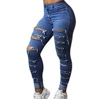 Wholesale High Waisted Capris Plus Size - Classic jeans for women fashion hole ripped high waist pants tight feet jeans woman new plus size fat womens destroyed high waisted jeans