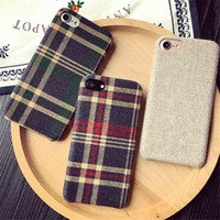 Wholesale Stripe Phone Shell - Classic British Style Grid Fabric Stripe Ultra-thin Cloth Art Phone Coque Shell Case Cover For Iphone 7 plus 6 6S Plus