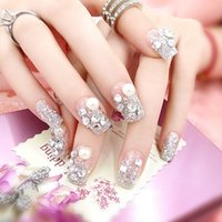 Wholesale Hand Nail Piece - False Nails Silver Sparkling Gem Fake Nail Art 1 box 24 Pieces Beautiful Fashion Style Silver Flower Pearl 5 Color Optional Hand Modeling