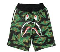 Wholesale Camouflage shark mouth print casual pants men and women couples kanye shorts pants