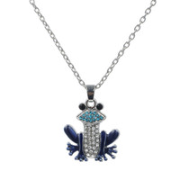 Wholesale Necklace Mother Pearl Blue - Creative Style Endearing Pendant Animal Blue And Pink Enamel Crystal Frog Pendant Silver Link Chain Pendant Necklace