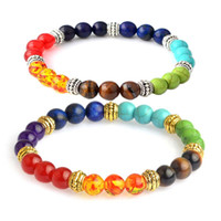 Wholesale Beads Agate - 7 Chakra Bracelets 8mm Healing Reiki Prayer Natural Stone Bead Bracelets Balance Yoga Inspirational Jewelry Women Men Gift Drop Shipping
