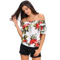 Wholesale Sexy Mixed Big Woman - Women T-Shirt Fashion Sexy Shoulder Tops Euramerican Style Slash Neck Floral Off-the-shoulder Top Mixed Color Big Size
