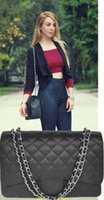 Wholesale Hw Fashion - Top Quality XXL Classial 33CM Maxi Quilted Chain Bag Black Genuine Caviar Leather Double Flaps Fashion Shoulder Bag Gold   Silver Hw