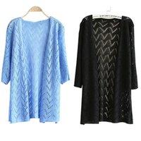 Wholesale Sweet Cardigan Coat Women - Wholesale-Fashion Women Sweet Lady Wave Stripe Casual Long Sleeve Cardigan Knit Sweater Coat Outwear