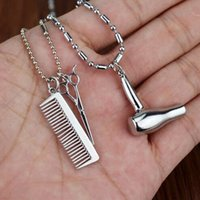 Wholesale Hair Dryers Combs - Wholesale-one piece Fashion Dull Charm Jewelry Hair Dryer Scissor Comb Dangle Pendant women necklace Harley quinn personality necklace