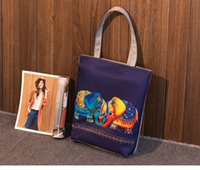 Wholesale Totes For Doctors - Elephant Printed Canvas Tote Women Casual Beach Bags Daily Use Female Single Shoulder Bags For Shopping Casual Canvas Handbags
