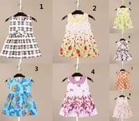 Wholesale Dress Doll Print - In stock 8 styles high quality cotton dress hot sell Europe and America new arrivals Girls Lovely cartoon animal printed lapel doll dress