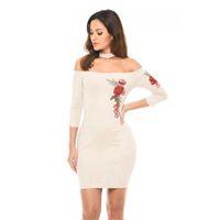 Wholesale Cami Panel - Flower embroidery bodycon dress 2017 Spring Sexy Club PU Velvet Dresses Women off the shoulder halter Backless Cami Pencil Dresses vestidos