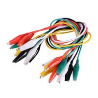 Wholesale purpose test - 10pcs Alligator Test Clip Cable Line 5-color Double-ended 50cm Wire Lead BI506