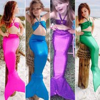 Wholesale Mermaid Costume Xl - 3pcs Girls Kids Mermaid Tail Swimmable Bikini Set Swimwear Swimsuit Swim Costume Children Set