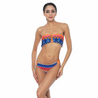 Wholesale Two Color Hot Fashion Bikini - Hot Women Bikini Strapless Print Front Hollow Wire Free Swimming Suit For Female New Vintage Retro Bikinis Set Thong Bndage Top Fashion
