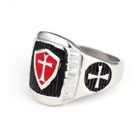 Wholesale New Stainless Steel Titanium Red Armor Shield Knight Templar Crusade Cross Signet Ring Medieval Signet Retro Vintage