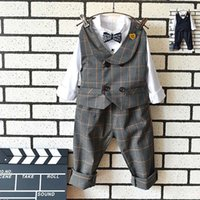 Plaid Gentleman Casual Boys Bekleidung 3er Sets Weste Weste + White Shirt + Hosen Best Kid Anzug Kinder Boutique Outfits New A1055
