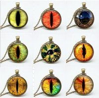Wholesale Cat Eye Cabochon - 9 style dragon eye pendant necklace glass cabochon cat eye necklaces art picture chain necklaces jewelry women gift fth-81-89